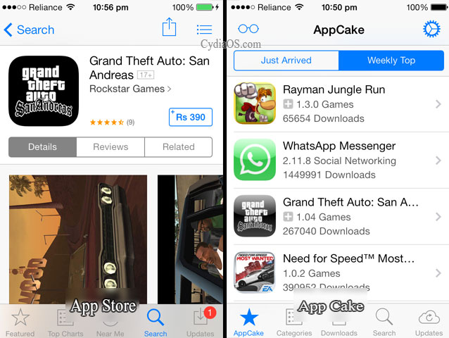 AppStore Vs AppCake