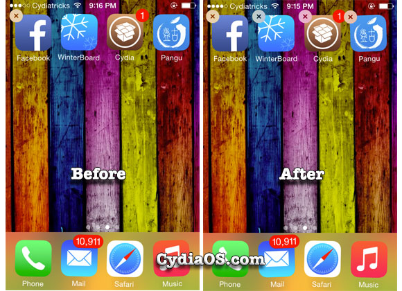 delete cydia tweak directly