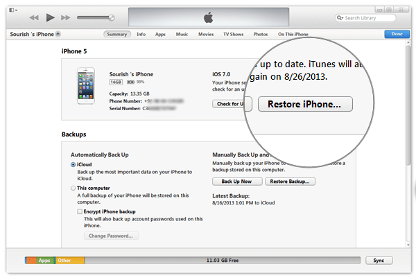 Restore Your device from Backup