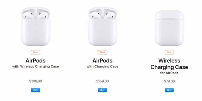 The pricing of AirPods 2 and Price of Wireless Charging Case